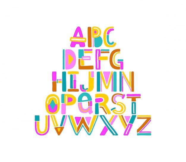 手描きaからzまでの抽象的なカラフルな幾何学的な文字 Premiumベクター