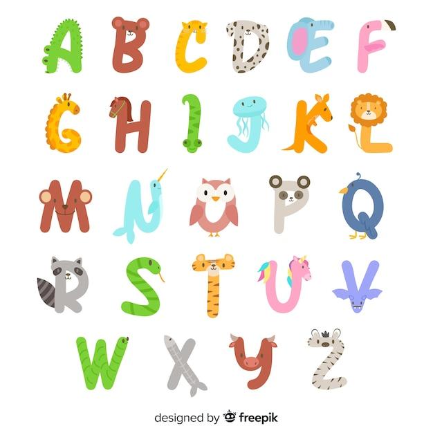 Aからzの動物のアルファベット 無料ベクター