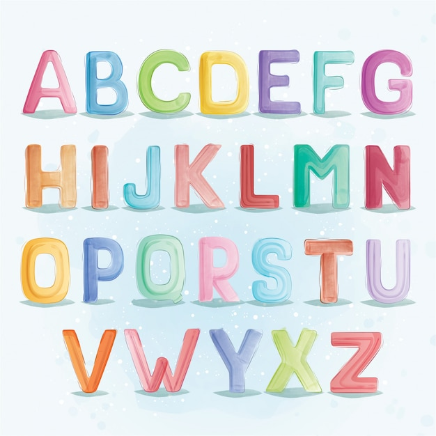 アルファベットフォントタイポグラフィa〜z Premiumベクター