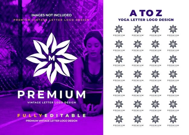 Цветочная буква от a до z Premium векторы
