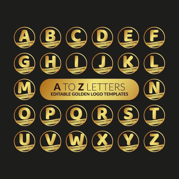 Aからzまでの文字の編集可能なゴールデンロゴのテンプレートコレクション Premiumベクター
