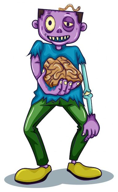 Зомби держит его мозг Бесплатные векторы