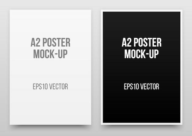 A2白と黒のポスターのリアルなテンプレート Premiumベクター