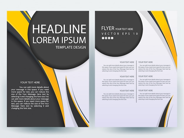 A Brochure Layout Template With Black And Yellow Circle Vector - A4 brochure template