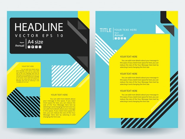 A Brochure Layout Template With Black Yellow And Blue Geometric - Brochure layout template