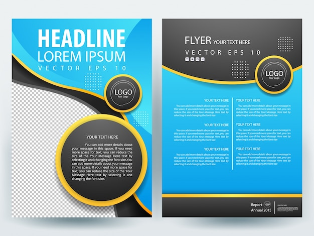 A Brochure Layout Template With Blue And Black Circle Vector - Brochure layout template
