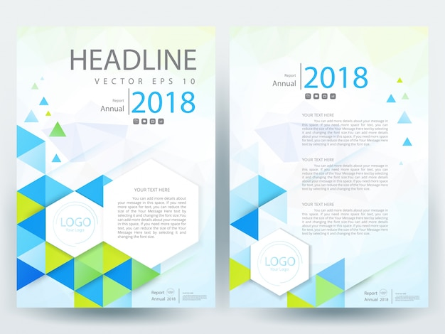 A4 Brochure Layout Template With Green And Blue Triangle Vector