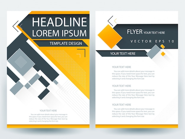 A4 Brochure Layout Template With Orange And Gray Geometric Vector