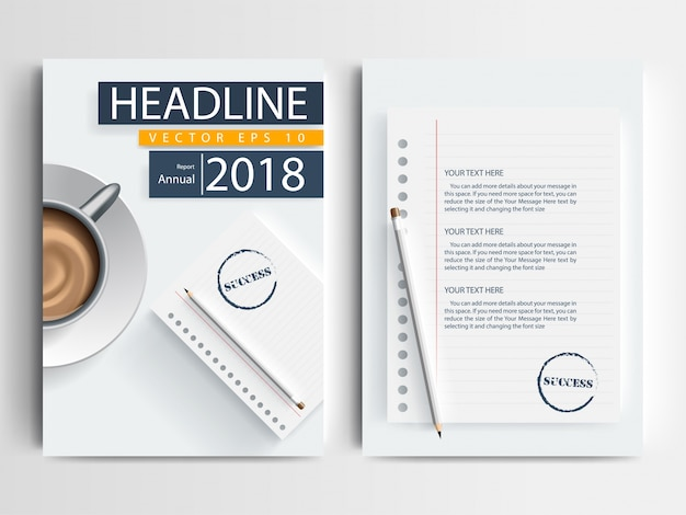 A Brochure Layout Template With Pencil Notebook And Coffee Cup - A4 brochure template