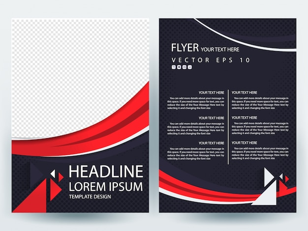 a4 brochure layout template with red line curve vector free download