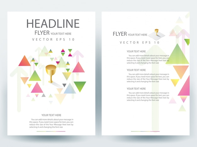 A4 Brochure Layout Template With Triangle Element Vector Premium