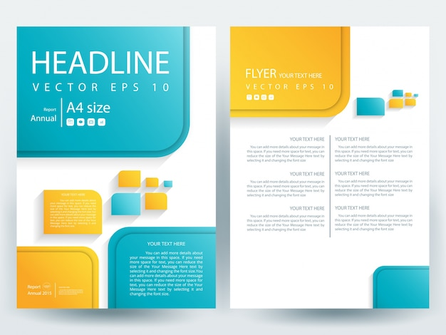 A4 Brochure Layout Template With Yellow And Blue Geometric Vector