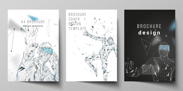 A4 format modern cover mockups design templates Premium Vector