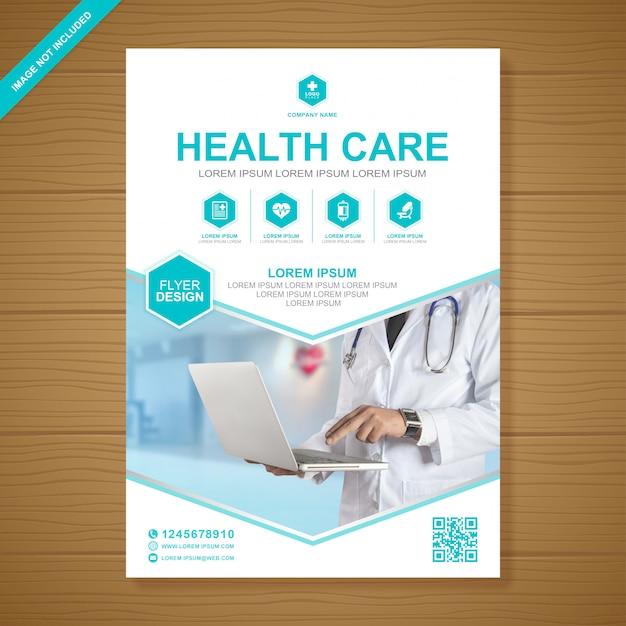 Здравоохранение и медицинское покрытие a4 флаер шаблон оформления Premium векторы