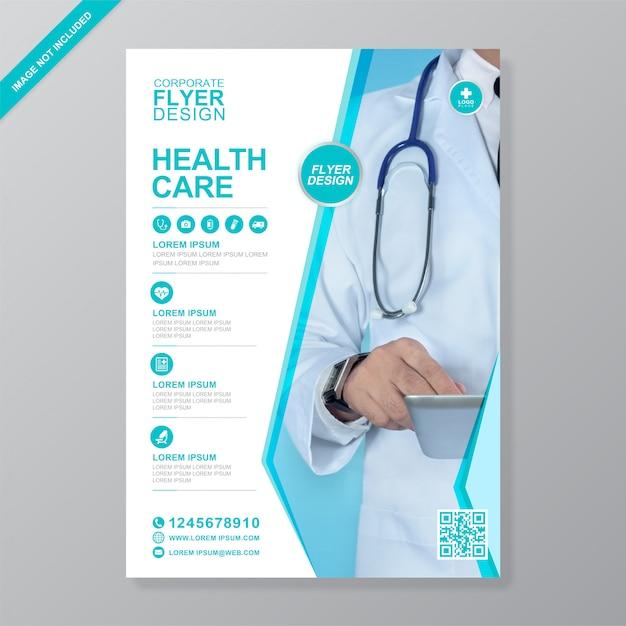 企業の医療および医療カバーa4チラシデザインテンプレート Premiumベクター