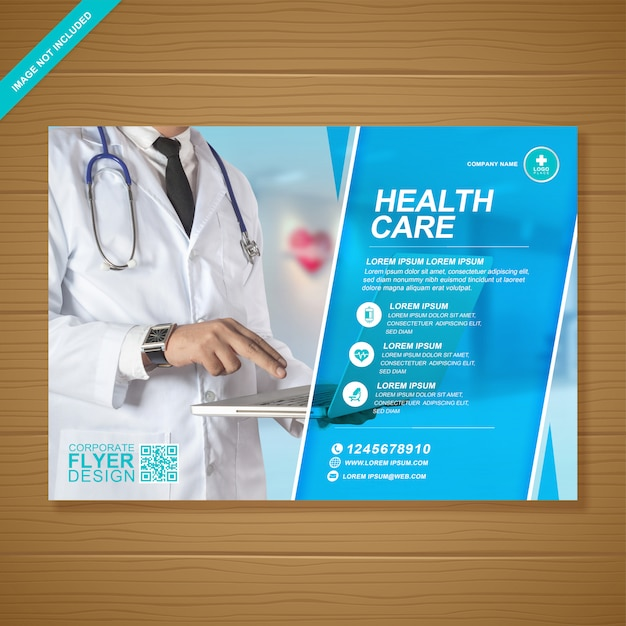 企業の医療および医療カバーa4チラシテンプレート Premiumベクター