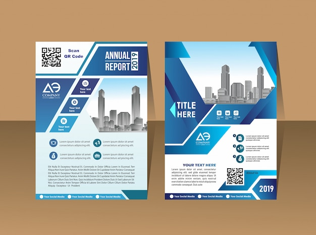 カバーデザイン年次報告書雑誌のチラシまたは青い幾何学的形状を持つa4の小冊子 Premiumベクター