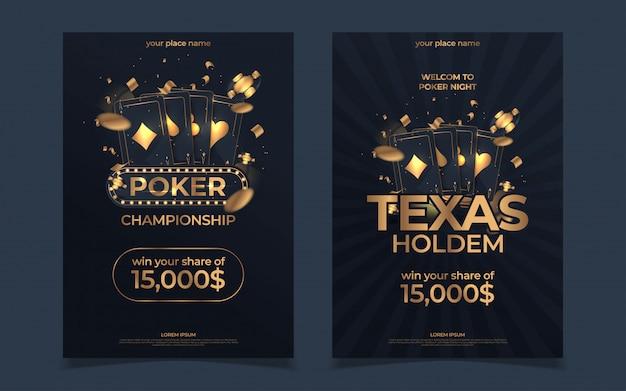 カジノポーカートーナメントの招待状のデザイン。チップとカードをプレイしてゴールドテキスト。ポーカーパーティーa4チラシテンプレート。 Premiumベクター