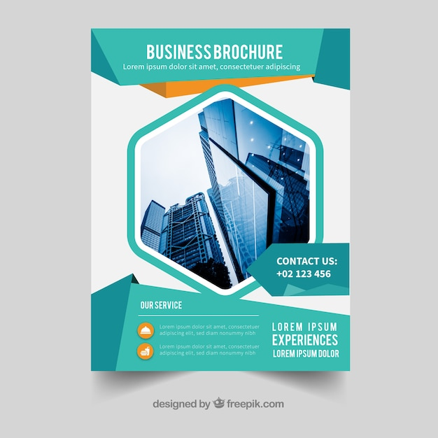 フラットスタイルのa5サイズのビジネスパンフレット 無料ベクター