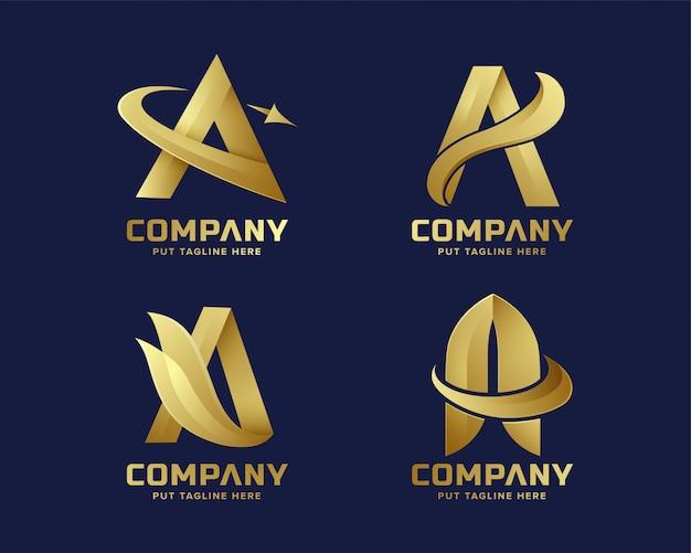 会社のプレミアムゴールドレターaロゴ Premiumベクター