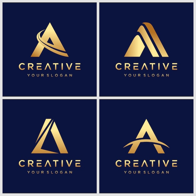 Золотая буквица a логотип Premium векторы