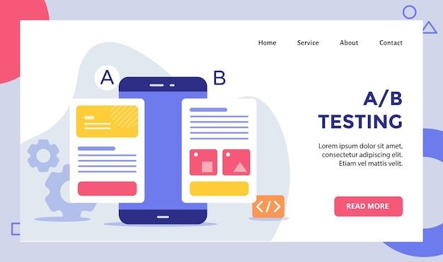 Кампания по тестированию компании ab на экране смартфона для целевой страницы домашней страницы веб-сайта Premium векторы