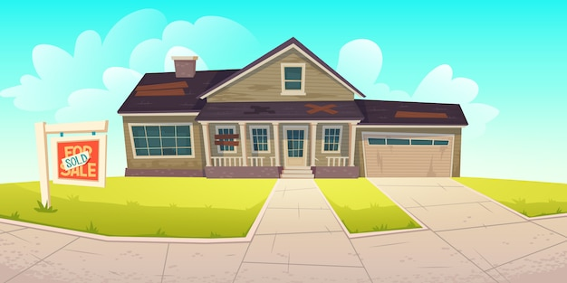 Abadoned old house with sign sold Free Vector