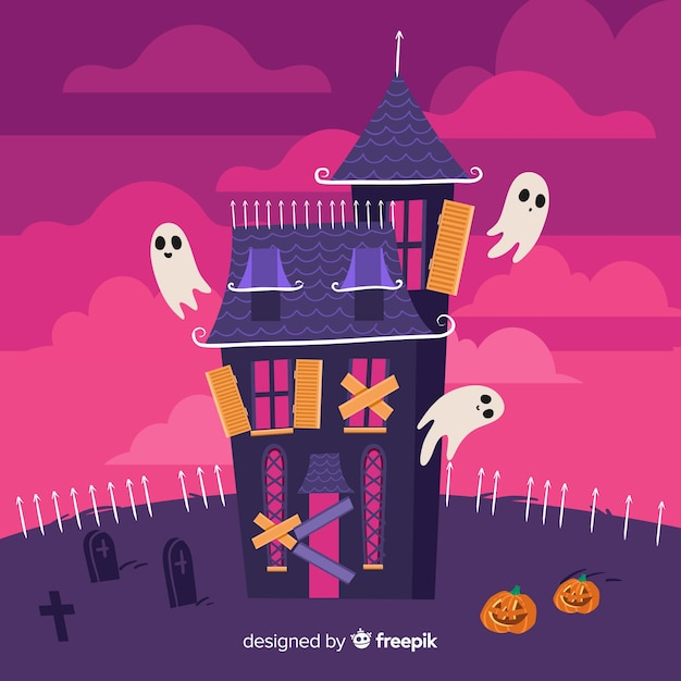 Abandoned house in a cemetery and ghosts Free Vector