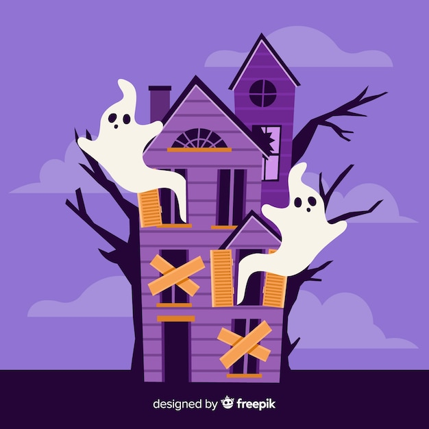 Abandoned house with ghosts Free Vector
