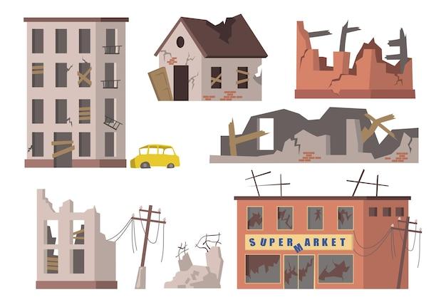 廃屋セット。古い廃墟の街の建物、集合住宅、スーパーマーケットのがれき、引き裂かれた送電線。 無料ベクター