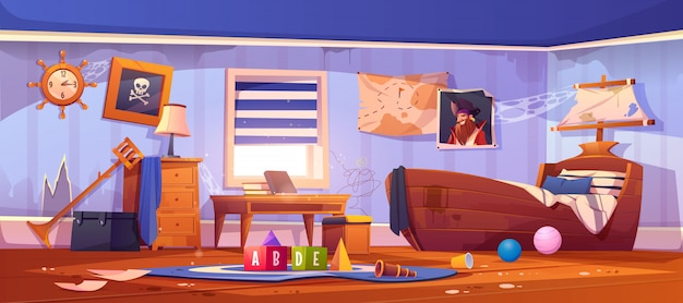 Abandoned kids bedroom in pirate style, interior Free Vector