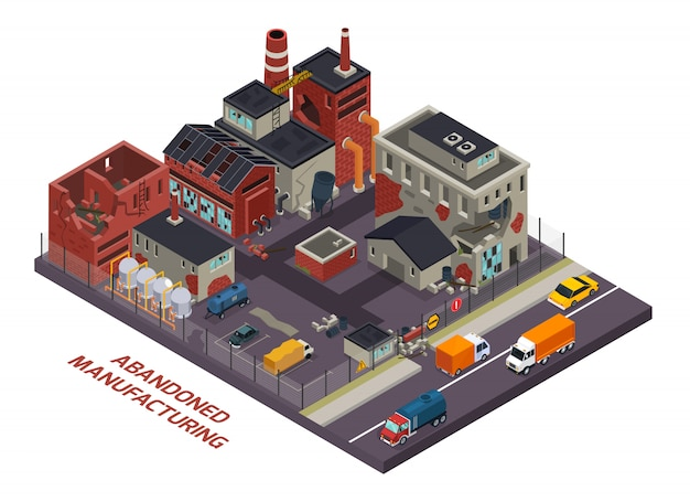 Abandoned manufacturing isometric composition Free Vector