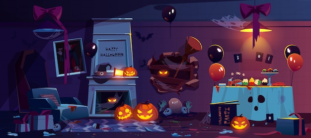 Abandoned room with halloween party decoration Free Vector