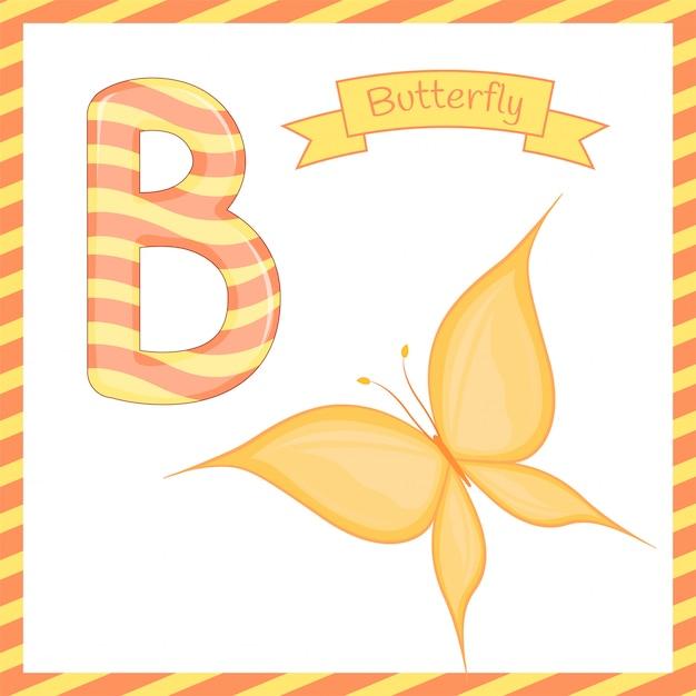 英語の語彙を学ぶ子供のためのかわいい子供abc動物園アルファベットbカラフルな蝶 Premiumベクター