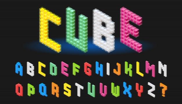 Изометрический алфавит шрифт abc cube Premium векторы