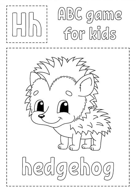 Азбука для детей. раскраска алфавит. мультипликационный персонаж. Premium векторы