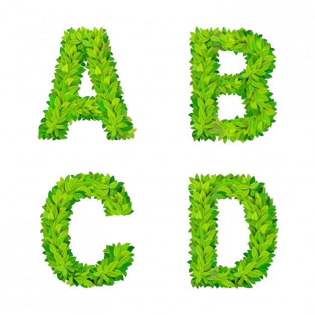 Abc grass leaves letter number elements modern nature placard lettering leafy foliar deciduous   set. a b c d leaf leafed foliated natural letters latin english alphabet font collection. Free Vector