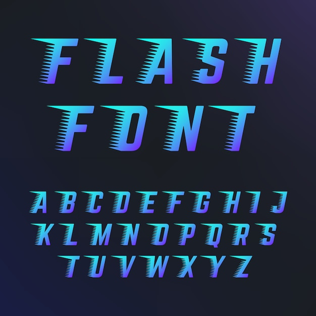 Abc letters with speed lines effects. Premium Vector
