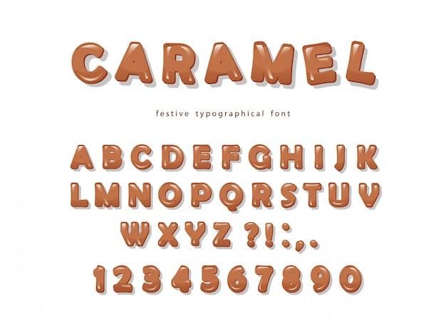 キャラメルフォントデザイン。甘い光沢のあるabcの文字と数字 Premiumベクター