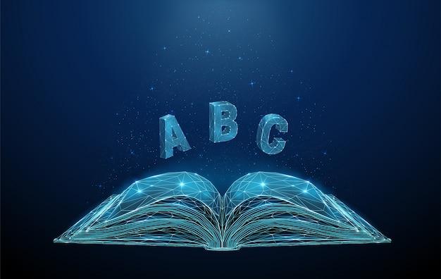 Аннотация открытая книга с летающими буквами abc Premium векторы
