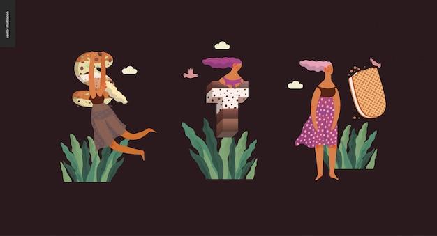 デザートフォントabc-誘惑フォント、甘いレタリング、女の子の現代平らなベクトル概念デジタルイラスト。キャラメル、タフィー、ビスケット、ワッフル、クッキー、クリーム、チョコレートの手紙 Premiumベクター