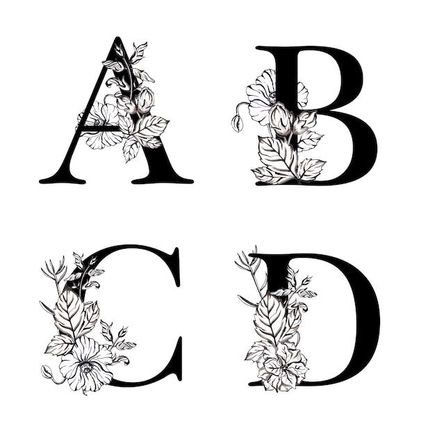 水彩の黒と白の花のアルファベット文字abcd Premiumベクター
