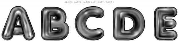 Черные латексные надутые символы алфавита, отдельные буквы abcde Premium векторы