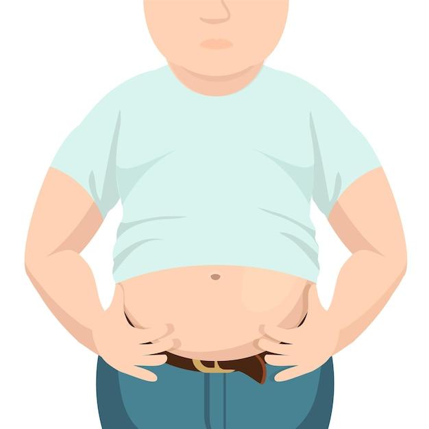 Живот толстый, толстый мужчина с большим животом. Premium векторы