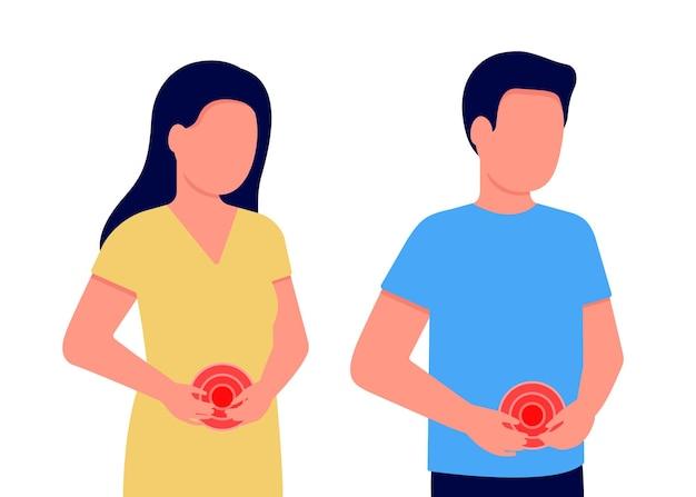 Боль в животе у мужчины и женщины. люди держатся за живот. болит желудок, кишечник. внутренний дискомфорт. желудок, кишечник или гинекологические проблемы. векторная иллюстрация Premium векторы