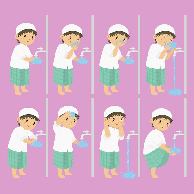 Ablution, wudhu steps for children vector collection Premium Vector