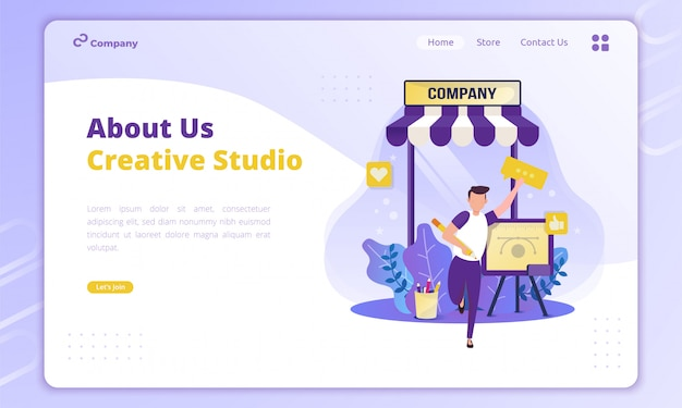About company profile's illustration for business creative concept on landing page Premium Vector