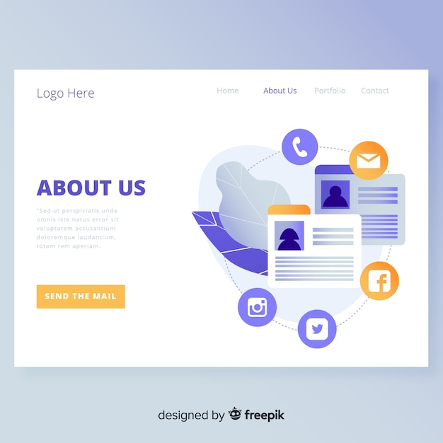 About us landing page design Free Vector