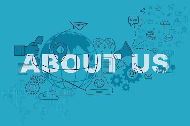 About us website banner concept with thin line flat design Premium Vector