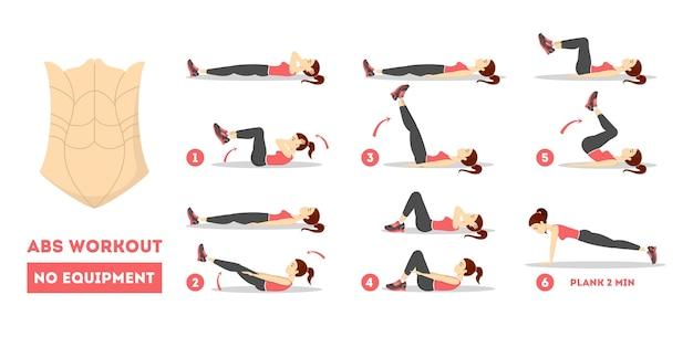 여성을위한 Abs 운동. 완벽한 몸매를위한 운동 프리미엄 벡터